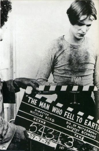 David Bowie on the set of The Man Who Fell To Earth, 1975