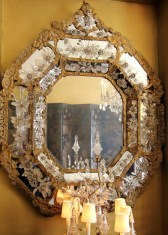 Stunning crystal-adorned mirror in one of the rooms