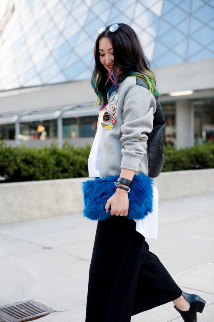 toronto-fashion-week-street-style-2016-alexander-wang-bomber-rainbow-hair3