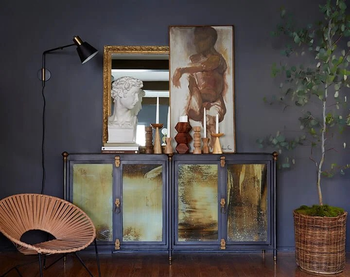Brady Picks A Credenza_Living Room_Broc Console_Modern Art_Moody_Masculine_Gray_Wood_Eucalyptus_Woven Leather_Citizenry_1