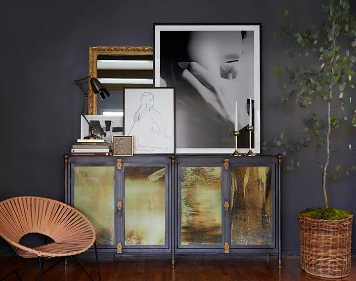 Brady Picks A Credenza_Living Room_Broc Console_Modern Art_Moody_Masculine_Gray_Wood_Eucalyptus_Woven Leather_Citizenry_3