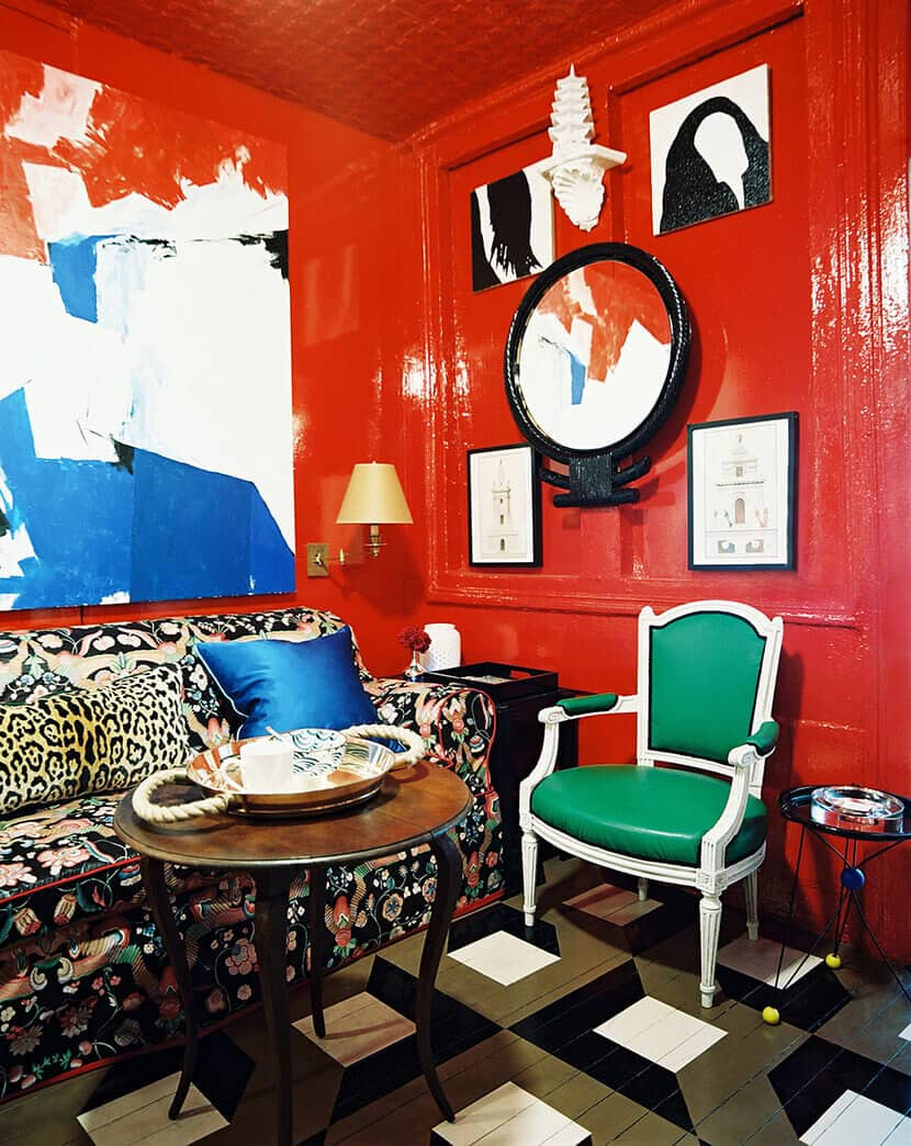 Bright Red Laqured Walls Living Room