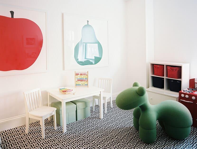 Childrens Playroom Red Apple Art
