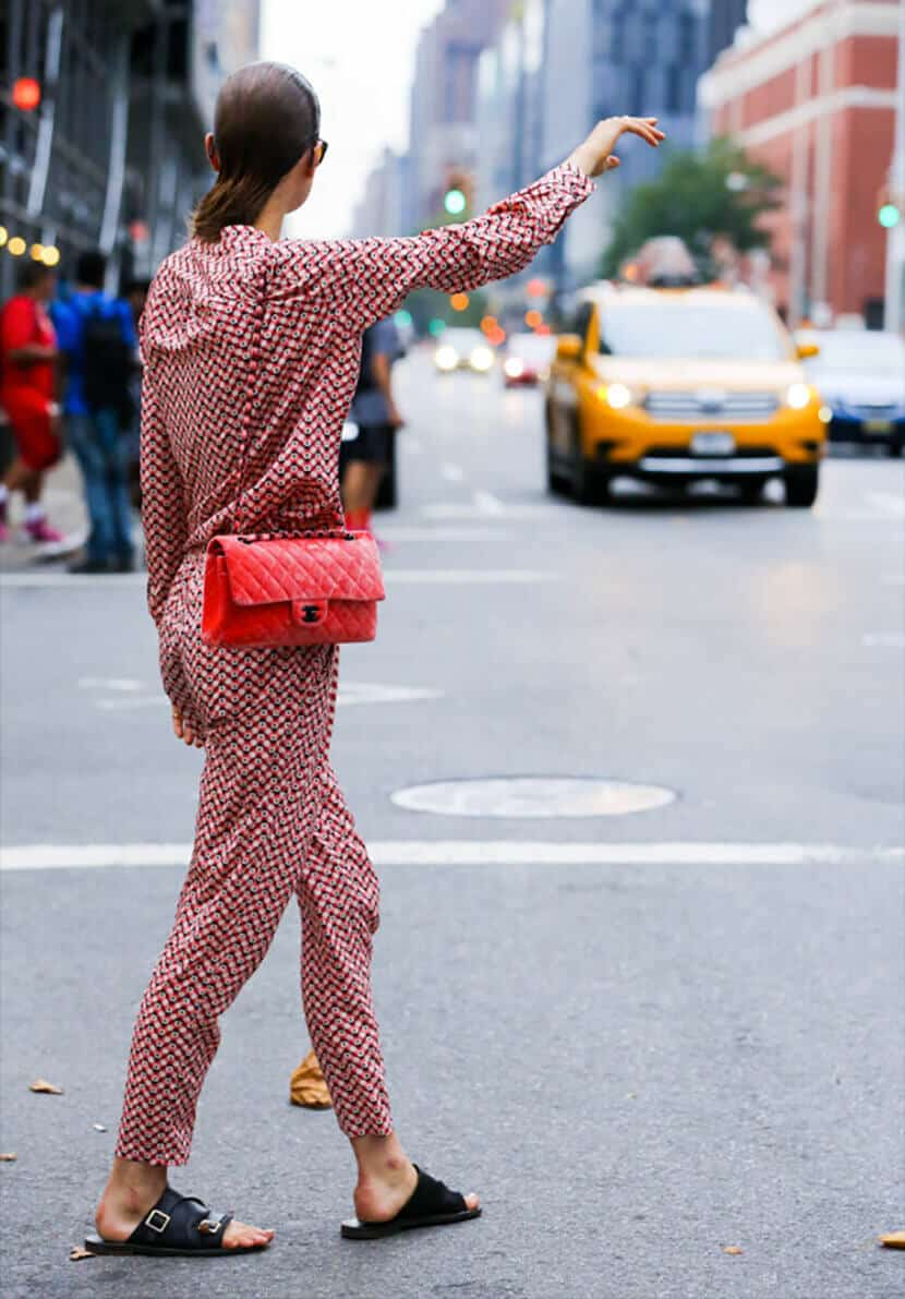 Red Pattern Jumpsuit Street Fashion