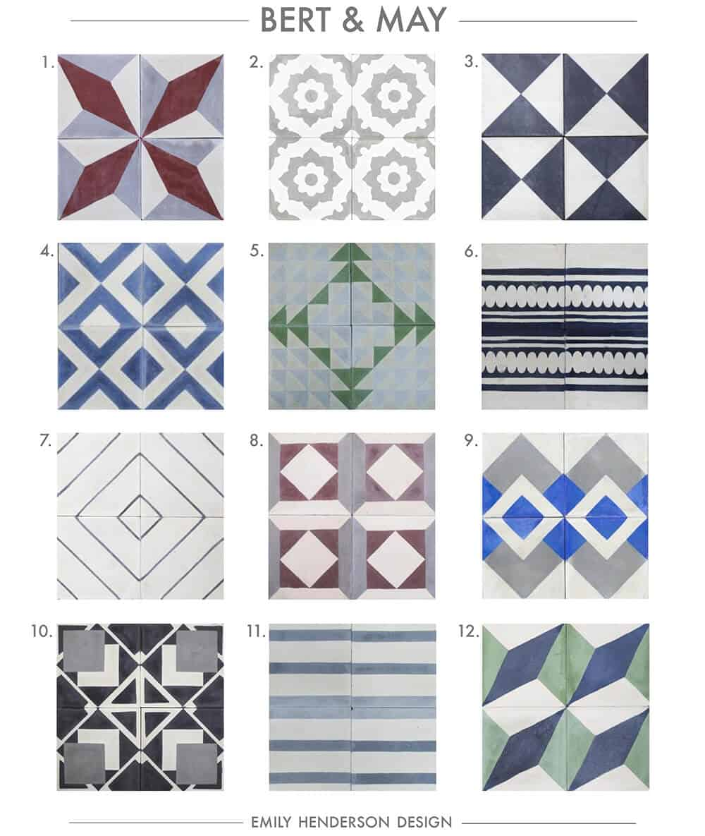 Cement Tile RoundUp Bert and May Patterned Tiles Emily Henderson
