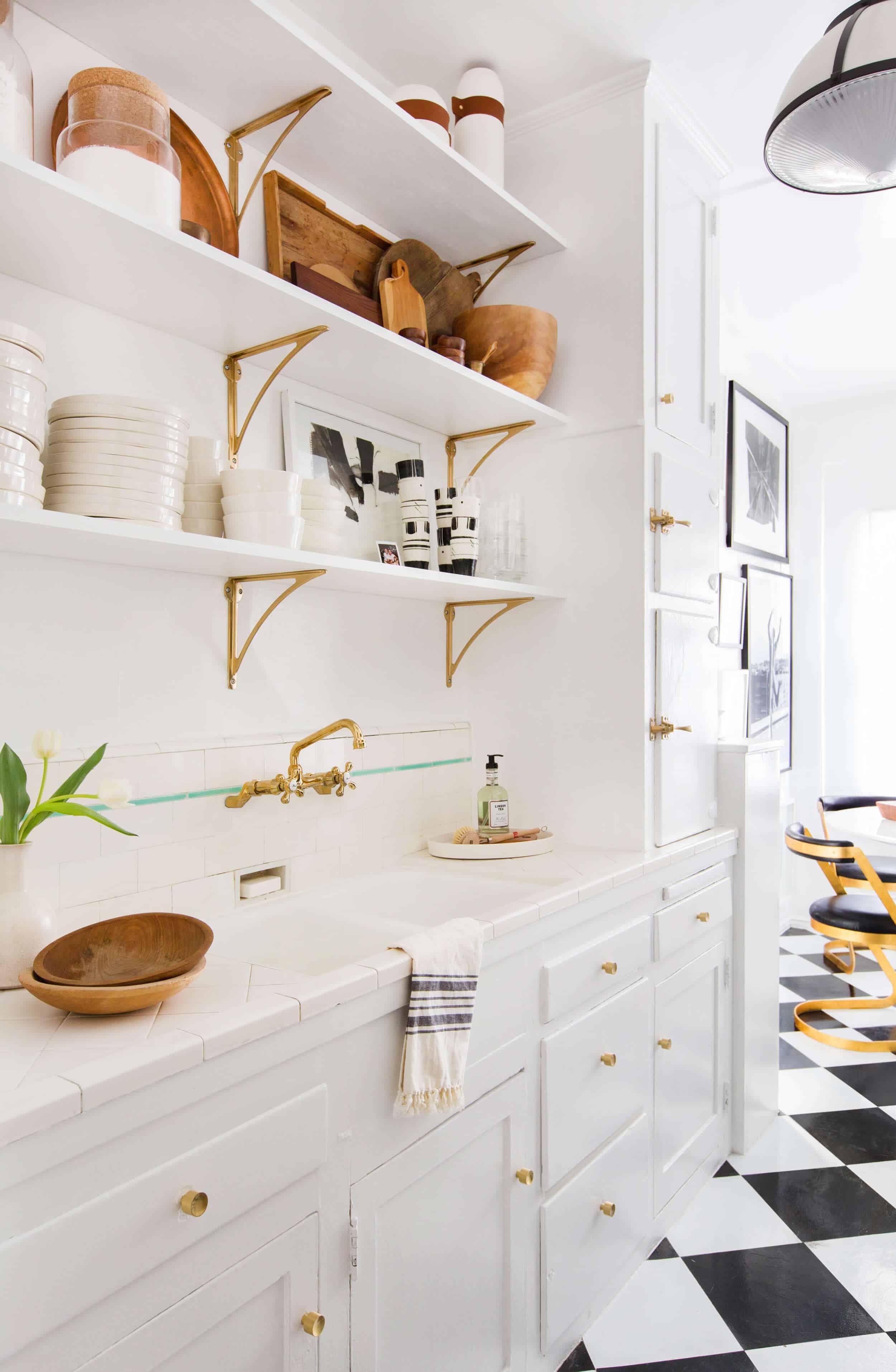 Vintage White Kitchen Checker Floors Open Shelving