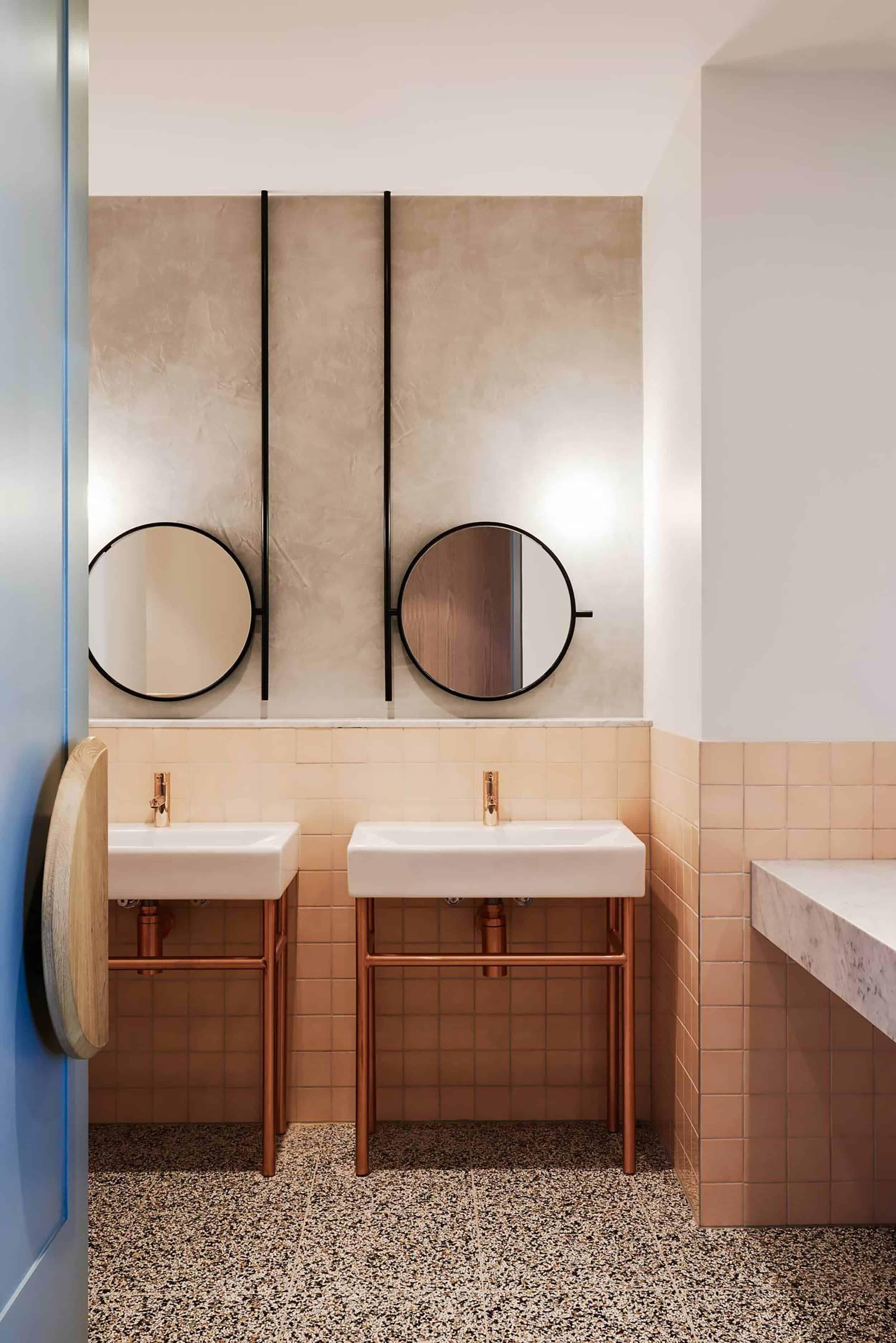 Modern Bathroom Hanging Round Mirrors