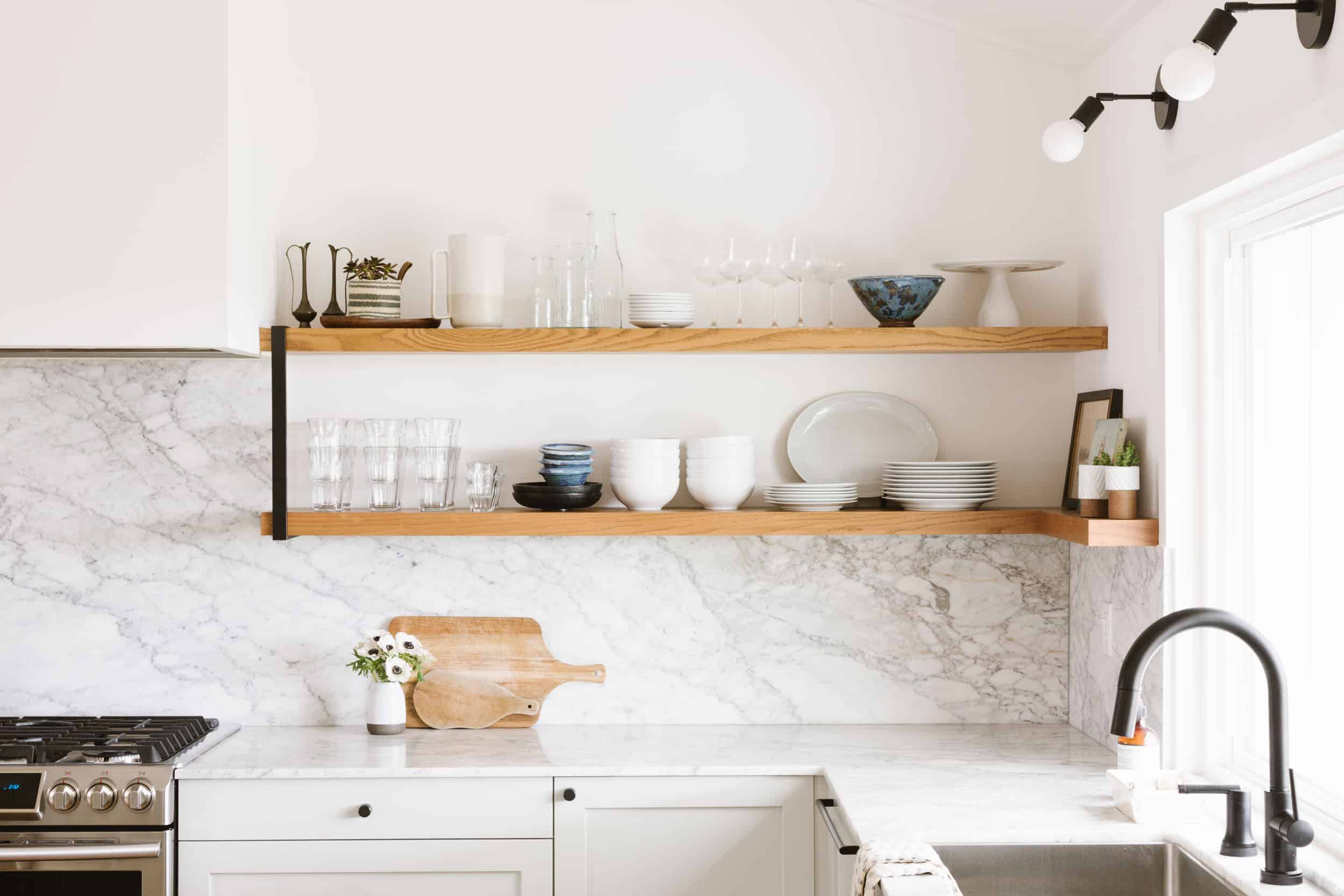 Samantha Gluck Emily Henderson Kitchen Floating Open Shelves