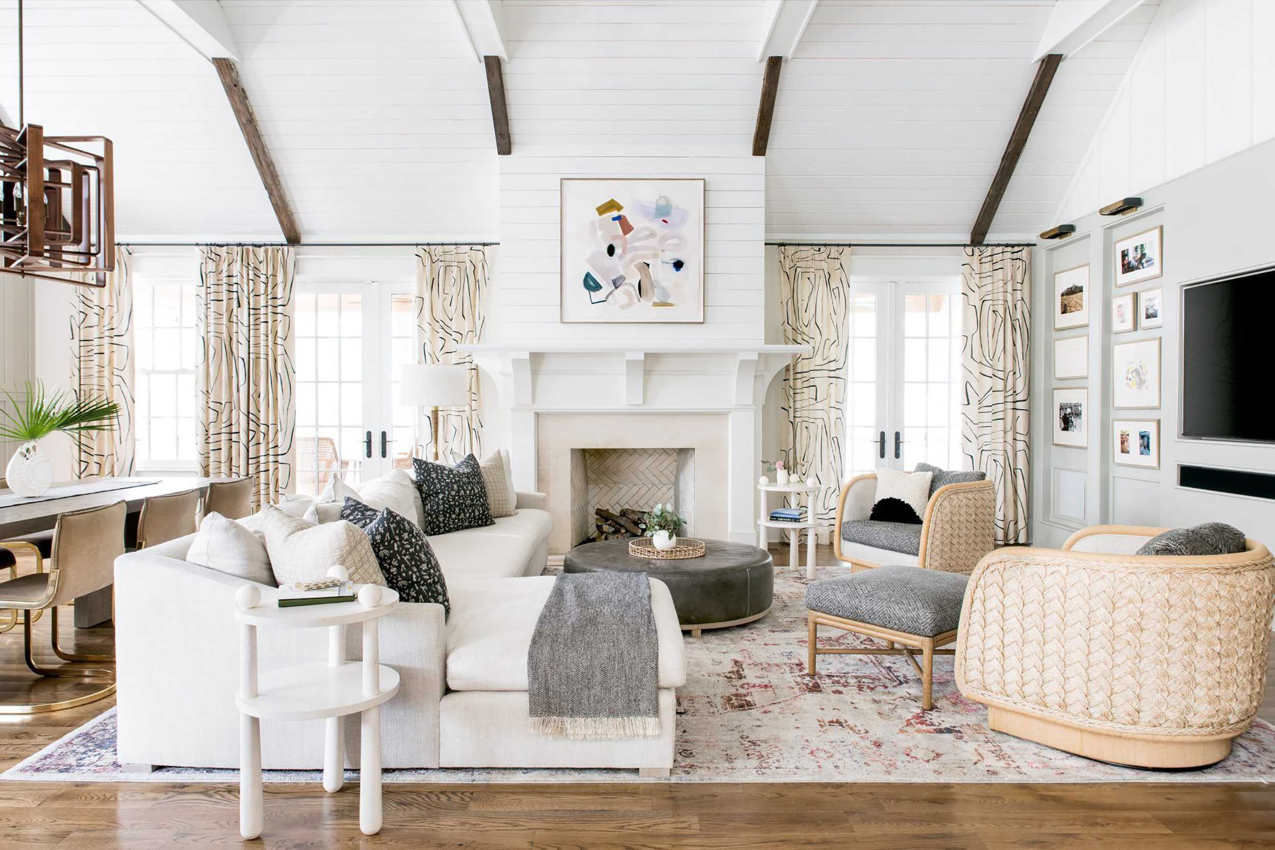how to expertly pair curtains rugs