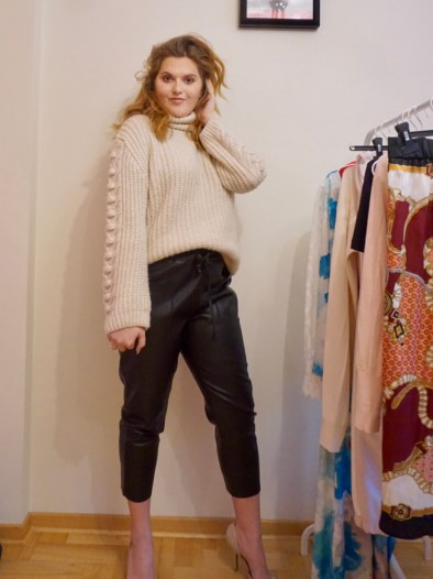 Leather joggers with chunky knit sweater