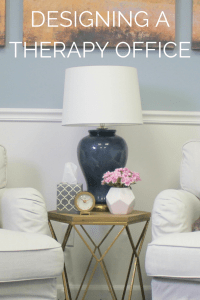 Therapy Office Blog- Therapy Office that uses coastal serene colors. Perfect for a psychotherapist or social worker office.