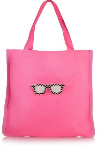 KOKUFay appliquéd neon canvas tote pink stylecabin