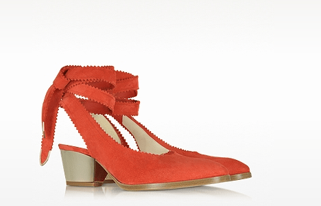 Oberline Red Suede Ankle Wrap Shoe heels for women