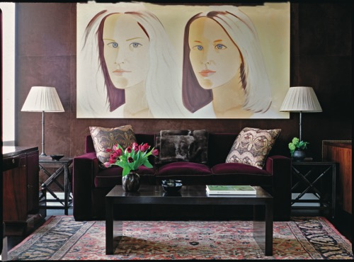 Designer Victoria Hagan Brown Living Room With Statement Art