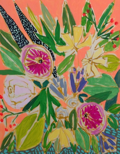 BRIGHT FLOWER PAINTING LULIE WALLACE