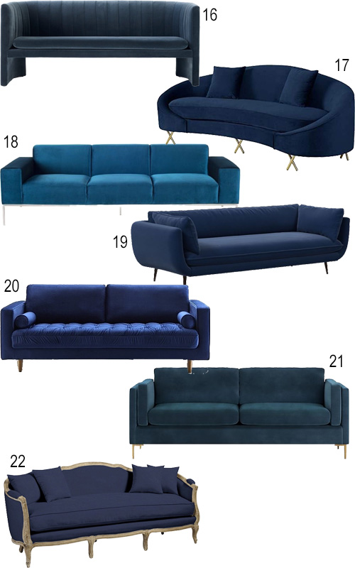 Modern Blue Velvet Sofa Loveseat