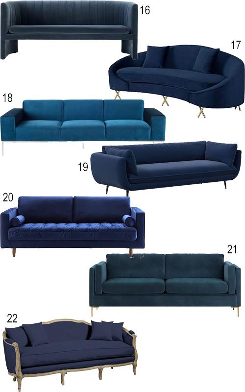 Modern Blue Velvet Sofa Loveseat