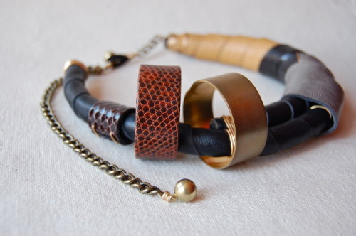 Beatrice Kim Leather Bracelet Necklace Jewelry