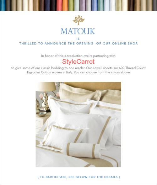 Matouk StyleCarrot Sheet Set Bedding Giveaway