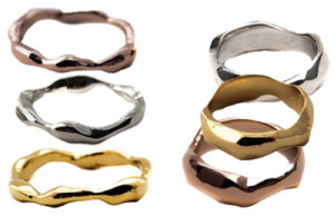 Jessica Biales Gold Wave Rings