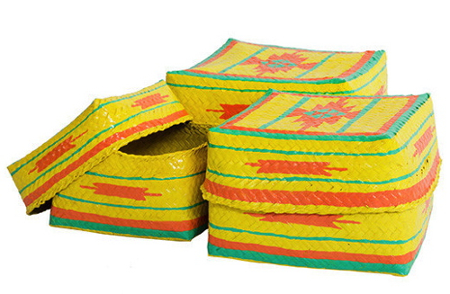Yellow Woven Baskets Native American Design
