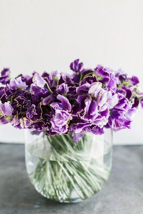 Tight Bouquet Purple Flowers Glass Bowl