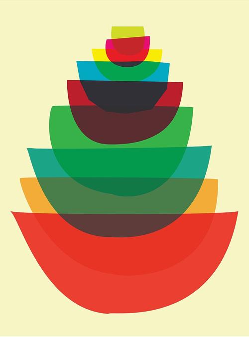 Kitchen Art Bowl Stack Graphic Print