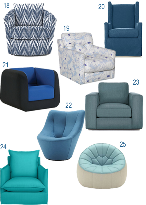 Modern Blue Turquoise Upholstered Swivel Chairs