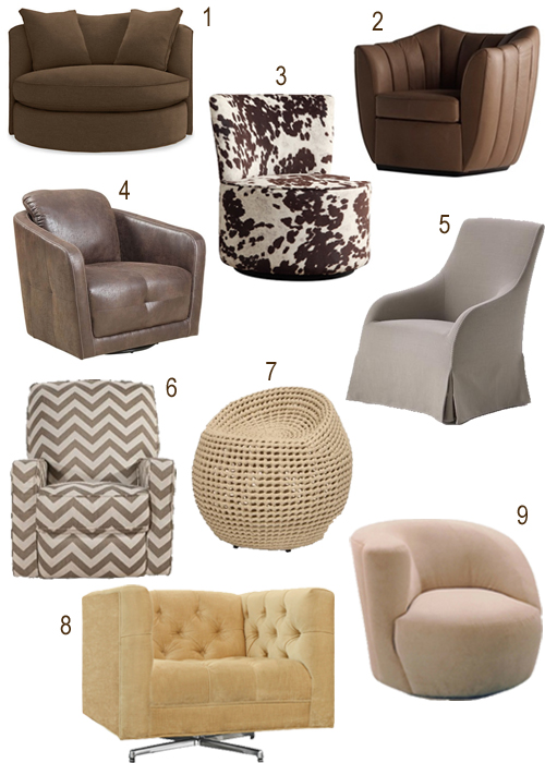 Modern Taupe Neutral Upholstered Swivel Chairs