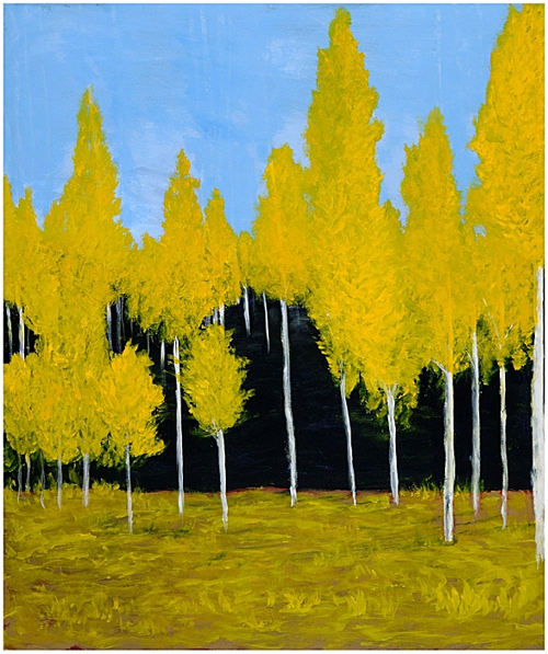 Landscape Painting Of Golden Birch Tree Forest