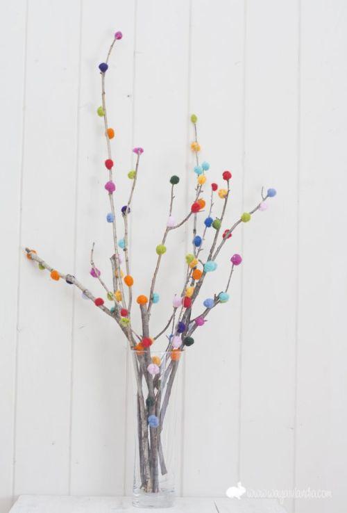 DIY Tree Branches With Muticolor Pom Poms