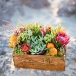 Sunday Bouquet: Succulents & Citrus in Wine Crate