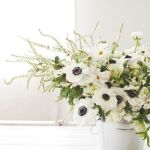Sunday Bouquet: White Anemones and Daisies in a Tin Pail