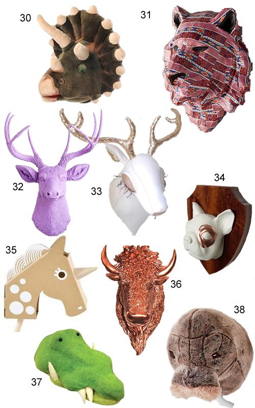 Faux Animal Heads Trophy Mounts Taxidermy Wall Decor