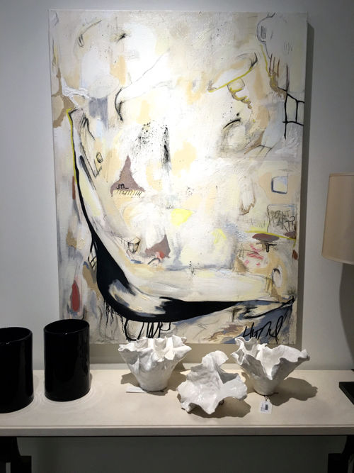 Abstract Painting By Emerging Boston Artist Hilary Tait Norod and Porcelain By Anna Kasabian