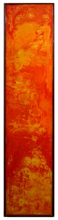 Cape Cod Artist Joe Diggs Vertical Abstract In Orange