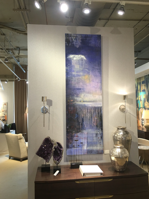 Vertical Purple Abstract Painting By Cape Cod Artist Joe Diggs