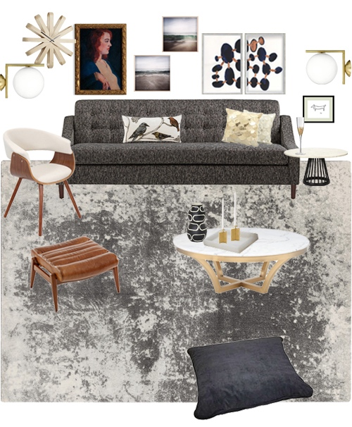 Family Room Makeover Ideas Grey Living Room With Gold Accents