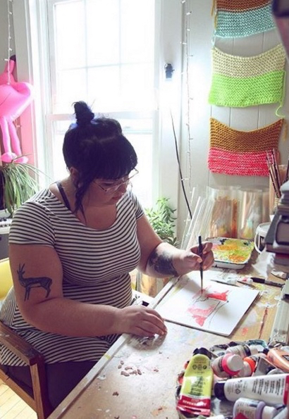 Portland Artist Joanne Graelin At Work In Her Studio