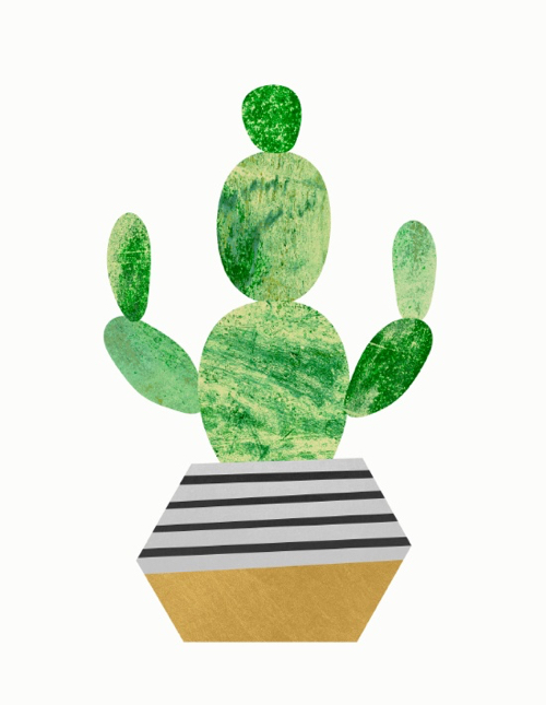 Illustration of Cactus In Striped Geometric Pot