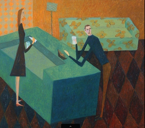 Interior Painting Of Man and Woman By Marcia Hermann