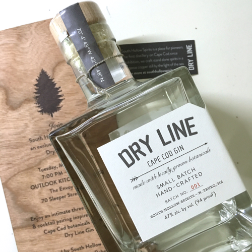 Dry Line Cape Cod Gin Bottle + Launch Party Invite