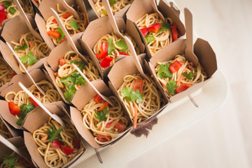Spicy Peanut Butter Noodles In Chinese Take Out Containers