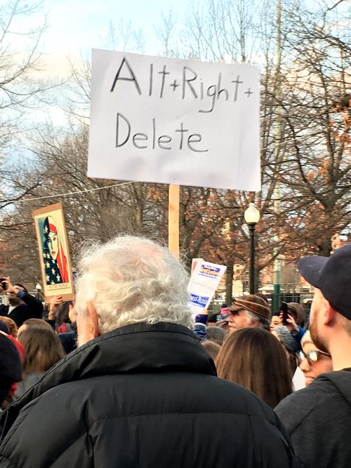Alt + Right + Delete Boston Women's March Sign