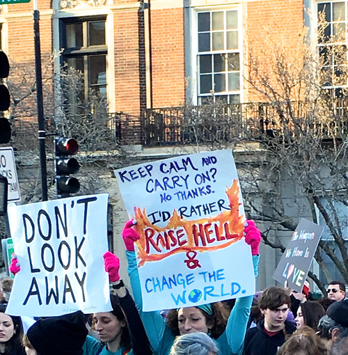 Boston Women's March Sign Broadcasts Action