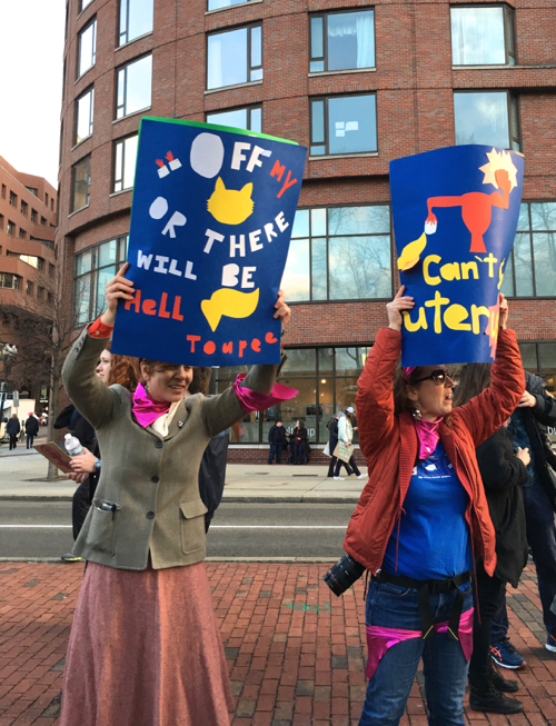 Boston Women's March Sign Making Fun Of His Toupee