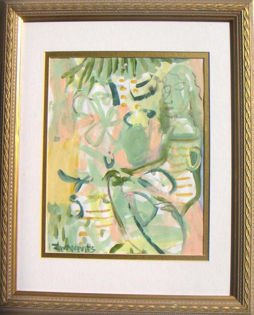 Abstract Figurative Painting In Greens by Dana Zivanovits,