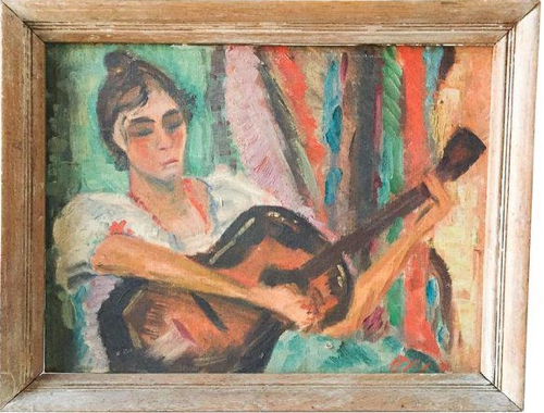 1940s Vintage Portrait The Guitar Player by Betsy P Levy