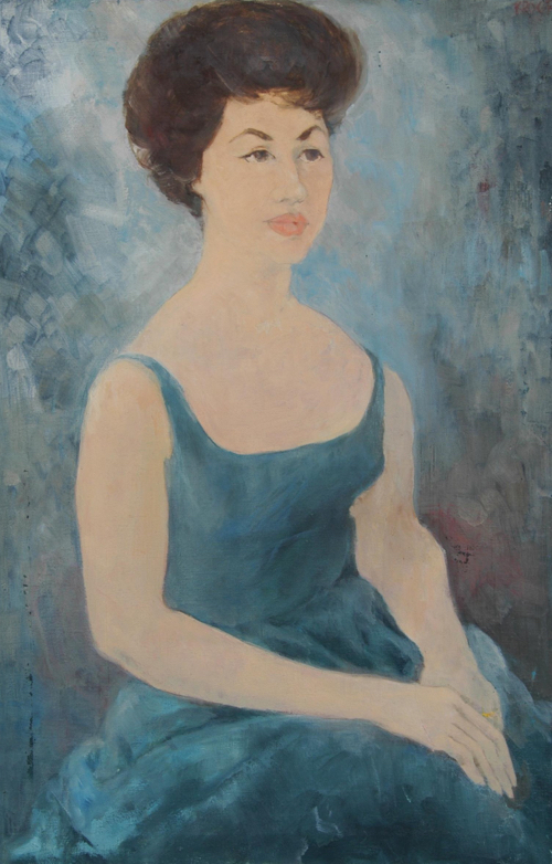 Mid-Century Lady in Turquoise Gown Portrait