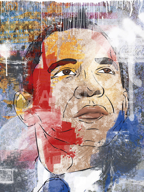 Collage Portrait of Obama With Flag